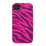 Trendy Pink Purple Zebra Stripes Wild Animal Print iPhone 4 Cases