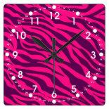 Trendy Pink Purple Zebra Stripes Wild Animal Print Wallclocks