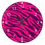 Trendy Pink Purple Zebra Stripes Wild Animal Print Clocks