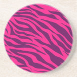 Trendy Pink Purple Zebra Stripes Wild Animal Print Beverage Coaster