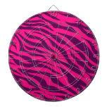 Trendy Pink Purple Zebra Stripes Wild Animal Print Dartboards