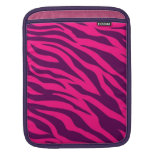 Trendy Pink Purple Zebra Stripes Wild Animal Print iPad Sleeves