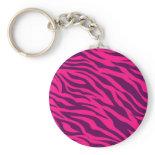 Trendy Pink Purple Zebra Stripes Wild Animal Print Keychain