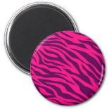 Trendy Pink Purple Zebra Stripes Wild Animal Print Refrigerator Magnets