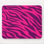 Trendy Pink Purple Zebra Stripes Wild Animal Print Mousepads