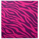 Trendy Pink Purple Zebra Stripes Wild Animal Print Cloth Napkins