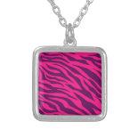 Trendy Pink Purple Zebra Stripes Wild Animal Print Pendants