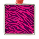 Trendy Pink Purple Zebra Stripes Wild Animal Print Ornaments