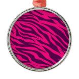 Trendy Pink Purple Zebra Stripes Wild Animal Print Christmas Tree Ornaments