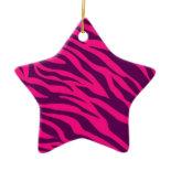 Trendy Pink Purple Zebra Stripes Wild Animal Print Ornament