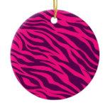 Trendy Pink Purple Zebra Stripes Wild Animal Print Christmas Ornaments