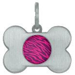 Trendy Pink Purple Zebra Stripes Wild Animal Print Pet ID Tag