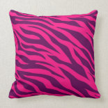 Trendy Pink Purple Zebra Stripes Wild Animal Print Throw Pillow