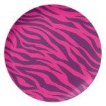 Trendy Pink Purple Zebra Stripes Wild Animal Print Dinner Plate