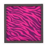 Trendy Pink Purple Zebra Stripes Wild Animal Print Premium Trinket Boxes