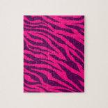 Trendy Pink Purple Zebra Stripes Wild Animal Print Jigsaw Puzzle