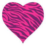 Trendy Pink Purple Zebra Stripes Wild Animal Print Heart Sticker