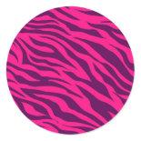 Trendy Pink Purple Zebra Stripes Wild Animal Print Round Stickers