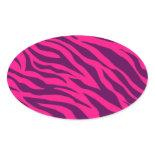 Trendy Pink Purple Zebra Stripes Wild Animal Print Oval Stickers