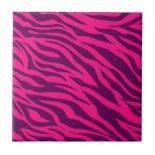 Trendy Pink Purple Zebra Stripes Wild Animal Print Ceramic Tile