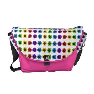 "Trendy pink rainbow ""polka dot"" commuter bags"