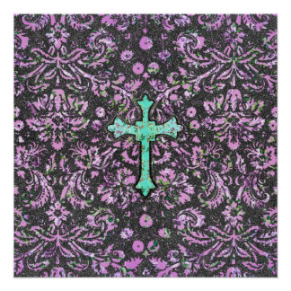 Trendy Pink Teal Floral Damask Glitter Cross Print