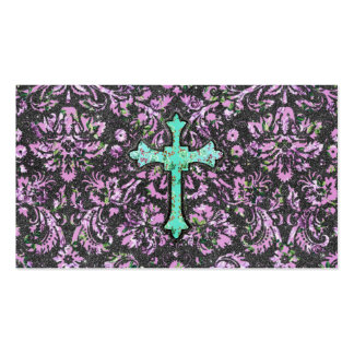 Trendy Pink Teal Floral Damask Glitter Cross Print Business Card Templates