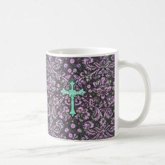 Trendy Pink Teal Floral Damask Glitter Cross Print Classic White Coffee Mug