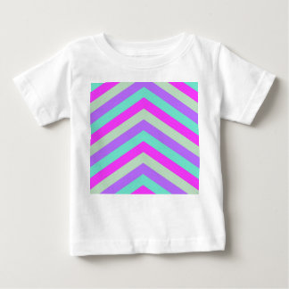 Trendy Pink Teal Stripe Chevron Pattern Print Baby T-Shirt