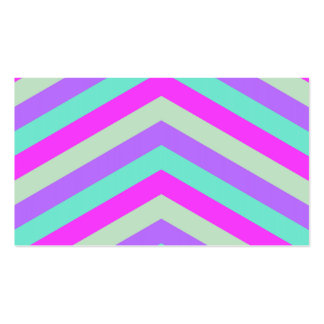Trendy Pink Teal Stripe Chevron Pattern Print Business Card