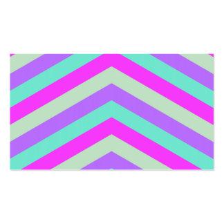 Trendy Pink Teal Stripe Chevron Pattern Print Business Card Template