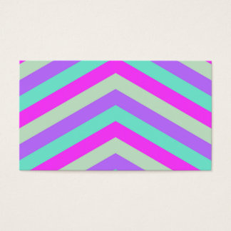 Trendy Pink Teal Stripe Chevron Pattern Print Business Card