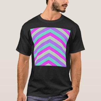 Trendy Pink Teal Stripe Chevron Pattern Print T-Shirt
