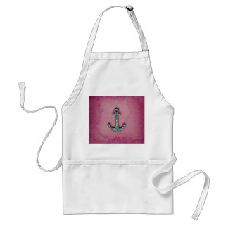 Trendy Pink Watercolor Heart Anchor Adult Apron