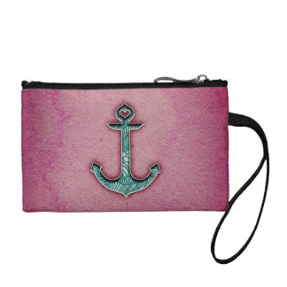 Trendy Pink Watercolor Heart Anchor Coin Wallet