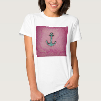Trendy Pink Watercolor Heart Anchor Shirt