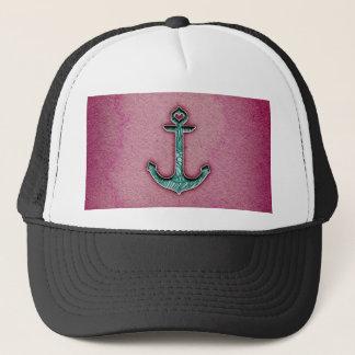Trendy Pink Watercolor Heart Anchor Trucker Hat