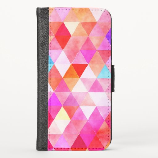Trendy Pink Watercolor Triangle Pattern iPhone X Wallet Case