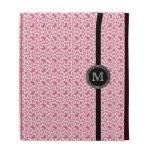 Trendy pink white damask monogram iPad case
