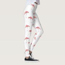 Trendy Pink & White Flamingo Leggings