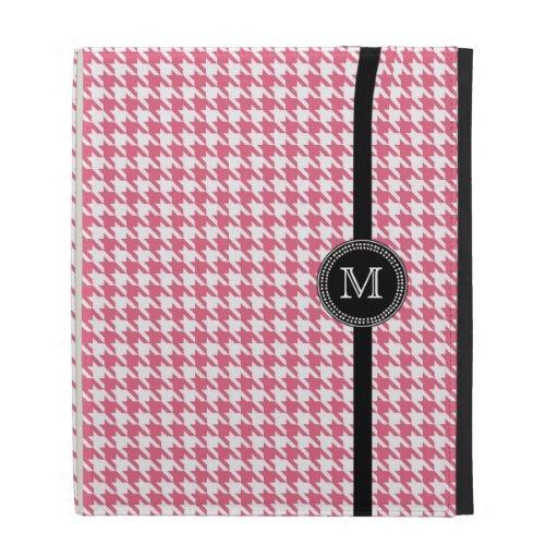 Trendy pink white houndstooth monogram iPad case