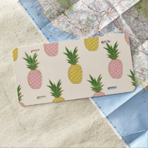 Trendy Pink Yellow Tropical Pineapple Pattern License Plate