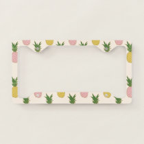 Trendy Pink Yellow Tropical Pineapple Pattern License Plate Frame