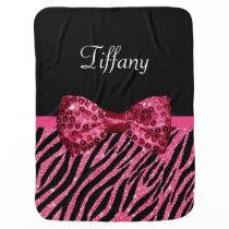 Trendy Pink Zebra Print FAUX Glitz Bow With Name Baby Blanket