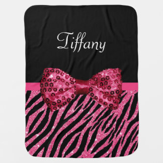 Trendy Pink Zebra Print FAUX Glitz Bow With Name Baby Blanket