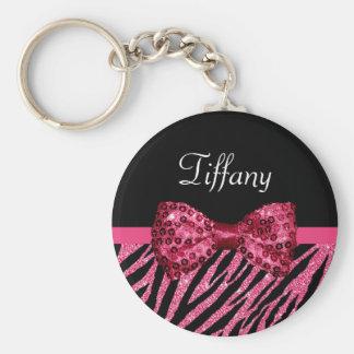 Trendy Pink Zebra Print FAUX Glitz Bow With Name Keychain