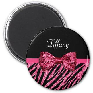 Trendy Pink Zebra Print FAUX Glitz Bow With Name Magnet