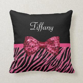 Trendy Pink Zebra Print FAUX Glitz Bow With Name Throw Pillow