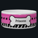 "Trendy Pink Zebra Stripe Custom Pet Dog Food Bowl<br><div class=""desc"">Super cute dog food bowl featuring a trendy pink zebra stripe,  a black and white zebra stripe,  black dots and a dog bone with your dog&#39;s name in the bone.</div>"