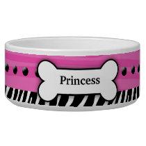 Trendy Pink Zebra Stripe Pet Food Bowl - Small